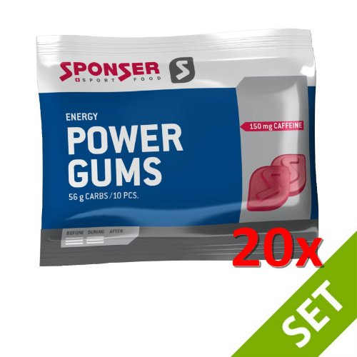 Sponser POWER GUMS RED Energy Snack 20x75g SPARSET Fitness Ausdauer, 20x17-700