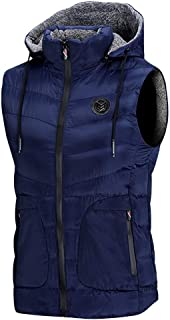 Behkiuoda Men Warm Waistcoat Autumn Winter Zipper Long Sleeve Hoodie Sleeveless Vest Jacket Top Coat