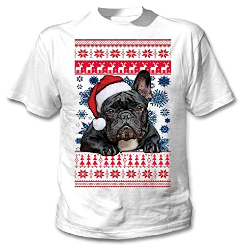 teesquare1st Santa French Bulldog Black Christmas Camiseta Blanca para Hombre de...