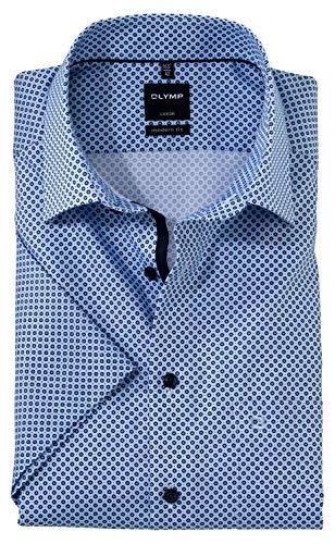 OLYMP Luxor modern fit Hemd Halbarm Brusttasche Haifischkragen Muster hellblau Größe 41
