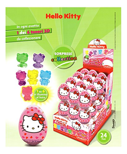 Ovetti Hello Kitty di cioccolato finissimo al latte con Tante Sorprese da Collezionare. Ideale per le Feste di Compleanno. Box da 24 pezzi. Senza Glutine