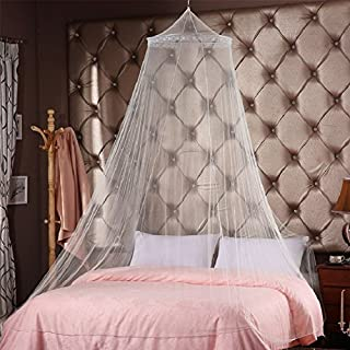 Comforbed Princess Round Hoop Lace Bed Canopy Mosquito Net Fit Crib Twin Full White