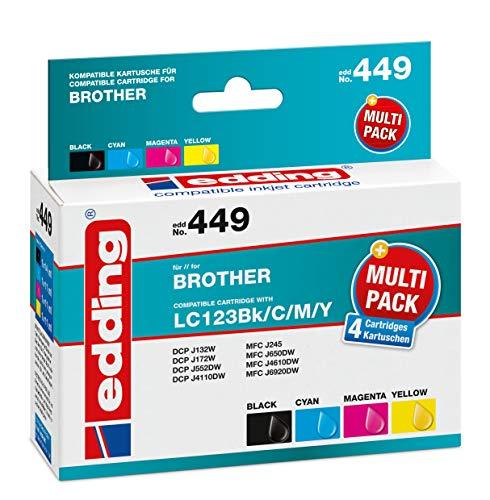 edding EDD-449 Tintenpatronen, Kompatibel zu Brother LC123, 4er Pack, color