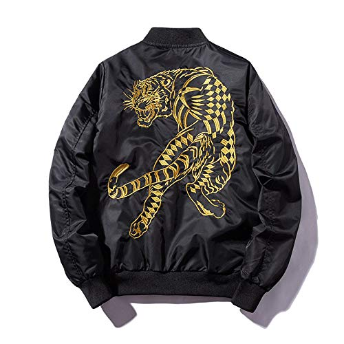 HUITAILANG Bomberjacke Herren Jacken Winddicht, Full Zip Winter Golden Tiger Stickerei Flight Coats Outwear, Übergroße Casual Fashion Loose Punk Harajuku Retro Tops, Groß