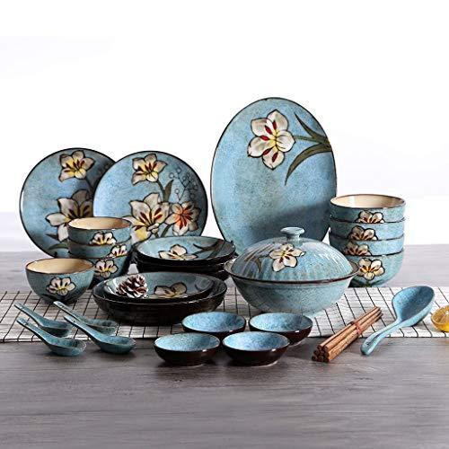 ZLDGYG Juego de vajillas de cerámica Ensalada Plato de Cena Plato Plato Plato Plato Platos Creatividad Retro Coreano hogar Cocina vajilla