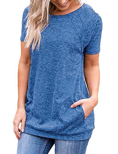 iClosam Camisetas Mujer Verano 2021 Tallas Grandes AlgodóN Crewneck T-Shirt