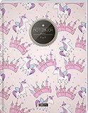 """TULPE Blanko Notizbuch A4 """"C132 Einhörner Mädchen"""" (140+ Seiten, Vintage Softcover, Seitenzahlen, Register, Weißes Papier - Dickes Notizheft, Skizzenbuch, Zeichenbuch, Blankobuch, Sketchbook)"""