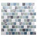 STICKGOO Pegatinas de azulejos autoadhesivos 3D, Decorativos Adhesivos para Azulejos Pegatina de Pared, Impermeable Azulejos de Gel, Diseño de Mosaico con Motivo, para Baño y Cocina (Verde mixto)