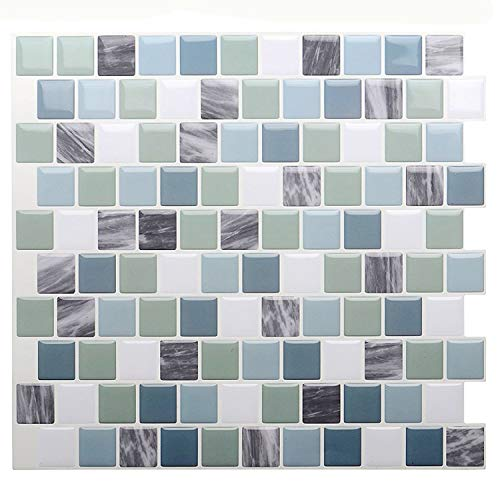 STICKGOO 3D Tile Stickers, Peel and Stick Tile Backsplash, Self Adhesive Wall Tiles for Kitchen & Bathroom-10 x 10' (Pack of 6, Mixed Green)