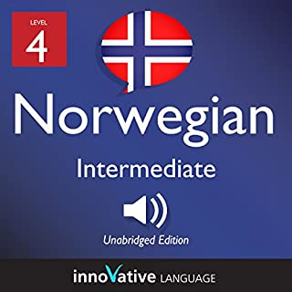 Learn Norwegian - Level 4: Intermediate Norwegian: Volume 1: Lessons 1-25 audiobook cover art