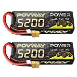 POVWAY 5200mAh 70C 7.4V 2S RC LiPo Battery Hard Case with XT60 for RC Cars, RC Truck, RC Airplane, RC Helicopter, Drone, Quadcopter - 2pack