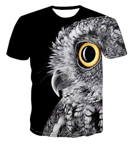 Htekgme Camiseta Unisex Impresa En 3D Verano Pequeño Búho Personalizado Camisetas De Manga Corta Casuales Tops-Ae317_XL
