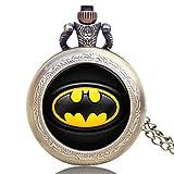 Batman - Reloj de Bolsillo para Hombre, diseño clásico de Batman, Cadena de Reloj, Regalo para Hombres