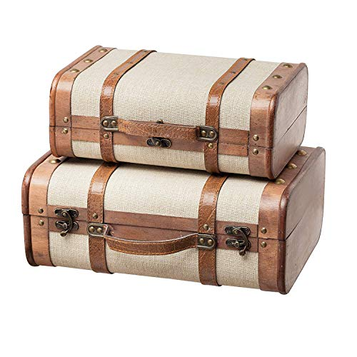 SLPR Decorative Wooden Storage Chest - Set of 2 | Wood Trunk Suitcase with Straps (Beige) | Antique Nesting Trunks
