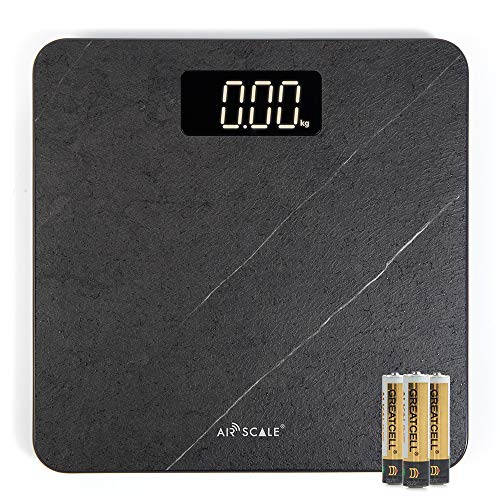 Airscale Digital Bathroom Weight Scale for People, High Accuracy Body Weighing Scale with Sleek Anti-Slip Board, 400lbs Large Wide Platform with Bright White LED Display AAA Battery Included