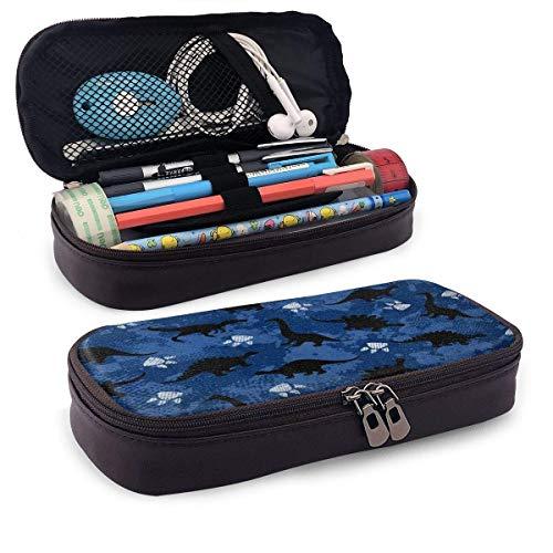 Pencil Case Dinosaur Pattern Print Luxury Large Capacity Pu Leather Pencil Pen Bag Pouch Case Holder School Office College Pencil Pouch