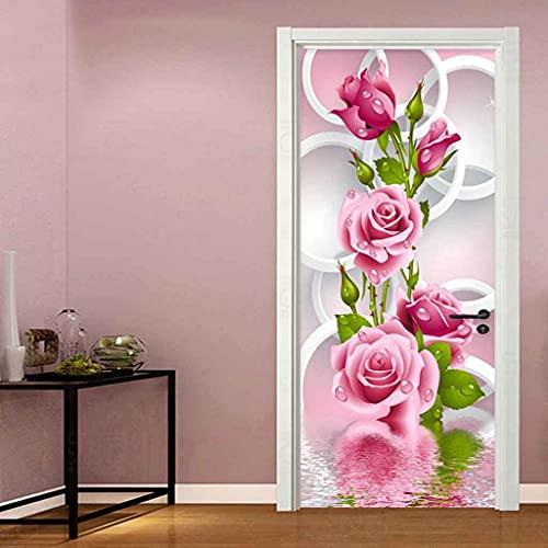 CUUDBP 3D Etiqueta De La Puerta, Flor Rosa Rosa Impermeable Extraíble Pegatinas De Pared Pintura Mural Autoadhesivos Papel Tapiz para Puertas Interiores Dormitorio Decoracion 77X200Cm