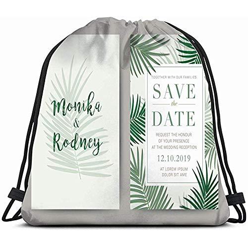 EW-OL Set Hochzeitskarte Vorlage Einladung Natur Massage Kordelzug Rucksack Tasche Unisex