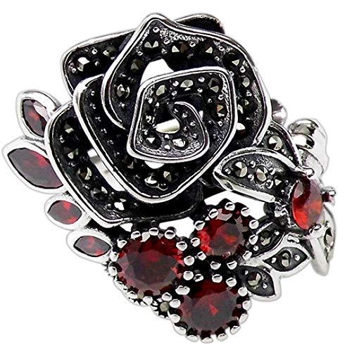 WHX Ringe Damen,925 Sterling Silber Thai Silber Rose Ring Ring Durchbrochener Musterring 25mm * 20mm Geeignet für alle Gelegenheite