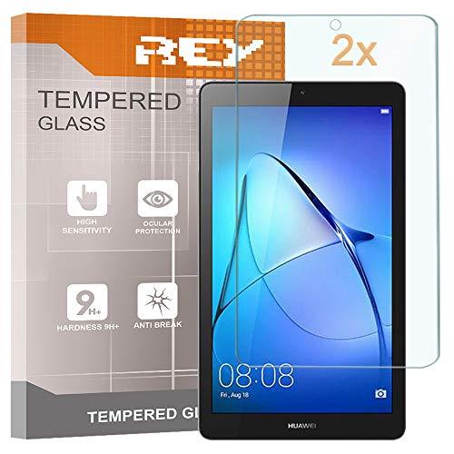 REY 2X Protector de Pantalla para Huawei MEDIAPAD T3 7' WiFi, Cristal Vidrio Templado Premium, Táblet