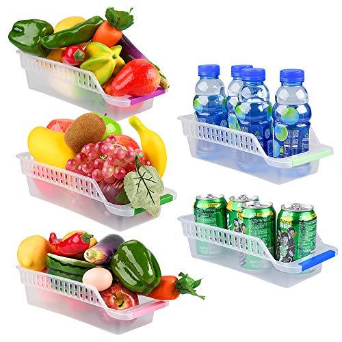 E-Senior Frigoríficos Organizadores de Cajones, Organizador Nevera, Cajón Frigorífico, Recipientes de frigorífico con Asas para Refrigerador Ordenado Estante (5Pack)