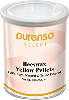 Purenso Select - 100% Organic Beeswax Pellets, Triple Filtered - Yellow, 100g Cosmetic Grade I Easy Melt for DIY Candles S...