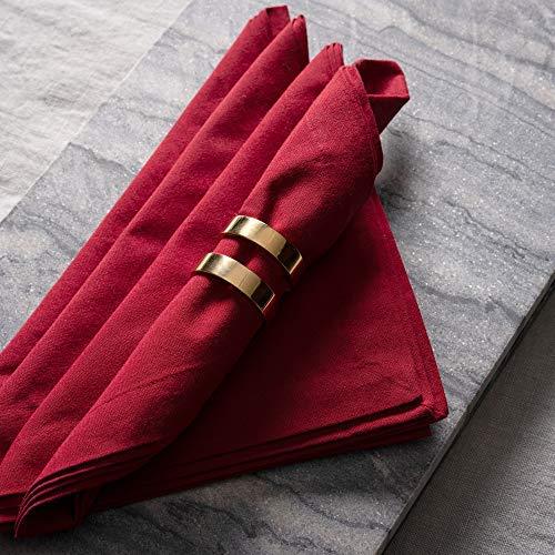 Linum Robert 4er-Set Stoffservietten, Servietten aus Baumwolle, 45 x 45 cm, Rot