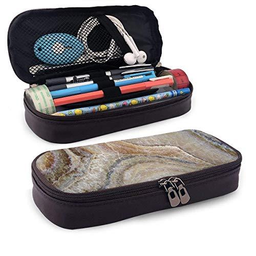 Leder-Federmäppchen, Surreal-Onyx-Stein-Oberflächenmuster, hellblaue Details, künstlerisches Bild, Schüler-Büro-Federmäppchen, 19,8 x 11,4 x 3,8 cm