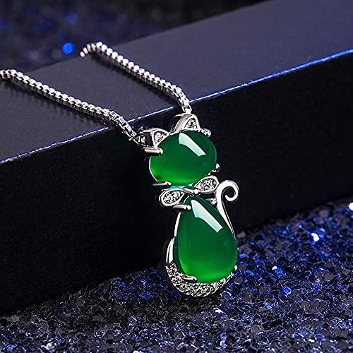 YANGYUE Colgante de ágata de Gato de calcedonia de Jade Verde Natural, Collar de Plata 925, Amuleto de joyería de Moda Tallado Chino para Regalos de Mujer