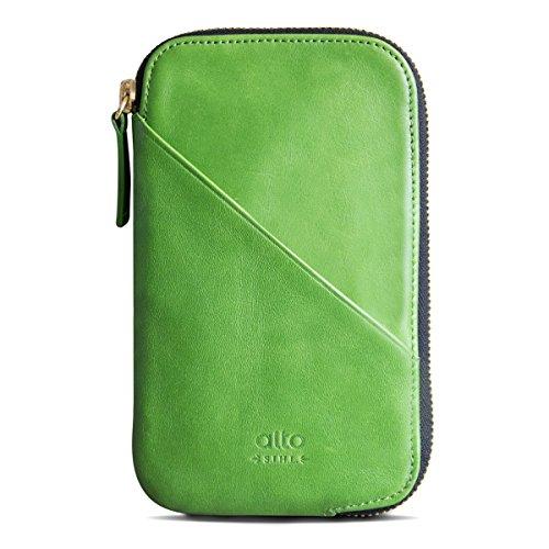 alto イタリアの本革を手作 財布 超多機能 パスポート カード収納 (小銭&イヤホン収納可能) Travel Phone Wallet 革製携帯ケース (レモン緑)