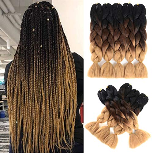 Ombre Braiding Hair Very Soft High Temperature Synthetic Colored Braiding Hair Extensions for braiding 24 inch 5 pcs/lot Jumbo Braid Hair Box Twist Braiding Hair(black-deep brown-light brown)
