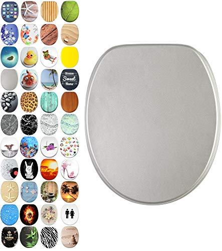 WC Sitz mit Absenkautomatik, viele schöne WC Sitze zur Auswahl, hochwertige und stabile Qualität aus Holz (Glitzer Silber)