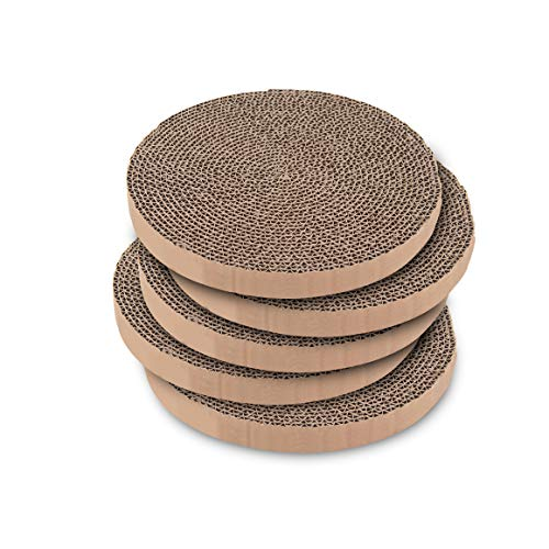 Catify Scratch and Spin Replacement Pads (5 Pack) – Round Cardboard Scratcher Refills for Cats – by Best Pet Supplies