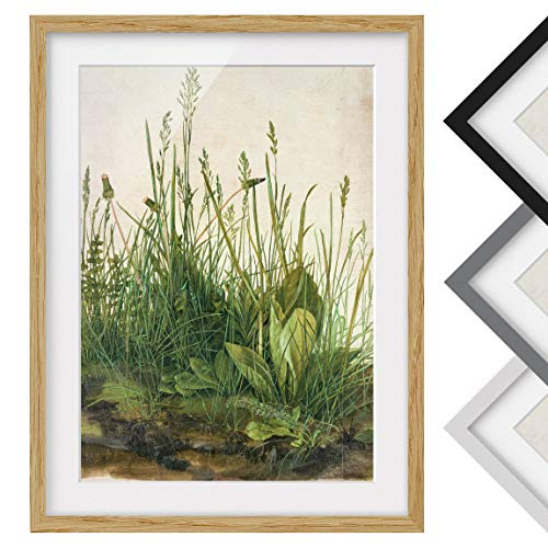 Bild mit Rahmen - Albrecht Dürer - Das große Rasenstück - Farbe Eiche 70 x 50cm