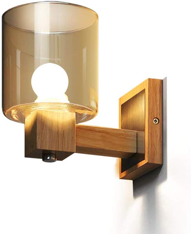JFFFFWI Wandleuchte Nordic Minimalist Creative Garden Schlafzimmer Spiegel Scheinwerfer Nachttischlampe Crystal Amber Glass Log Wandleuchte