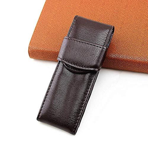 Estuche organizador para bolígrafos, estilo vintage, doble piel sintética, bolsa gruesa, funda de transporte casual, funda protectora, bolsa de almacenamiento, marrón