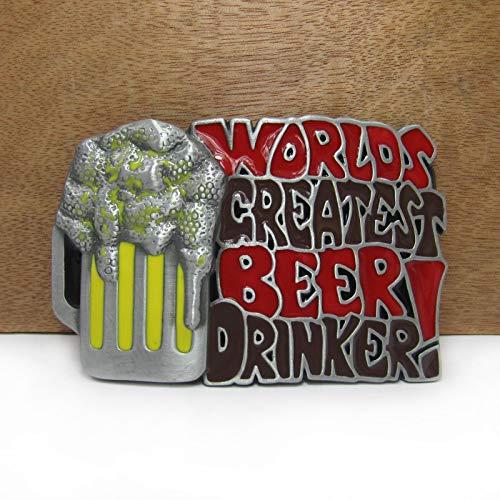 SKTNB Hebillas de cinturón El Bebedor de Cerveza más Grande del Mundo Vaquero Vaquero Regalo Hebilla de cinturón Acabado en Peltre Ancho