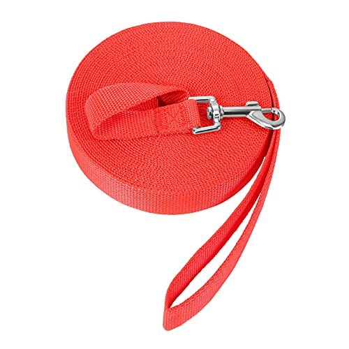 Schleppleine für Hunde, 10m/32ft Hundeleine für Recall Ausbildungsleine, Robuste Lange Seil Trainingsleine für Pet/Rot