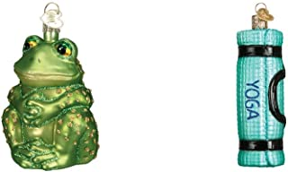 Old World Christmas Sitting Frog and Yoga Mat Set of Glass Blown Ornaments