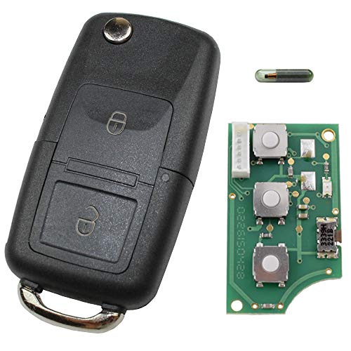 Schlüsselgehäuse Funk Fernbedienung Gehäuse Klapp Schlüssel 1J0959753AG 434 MHz Sender Platine Ersatz Autoschlüssel Neu passend für VW Volkswagen Golf Polo Passat Seat Skoda