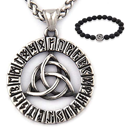 GUNGNEER Triquetra Pendant Celtic Knot Runes Necklace Stainless Steel Keel Chain Infinity Jewelry Talisman Amulet (28)