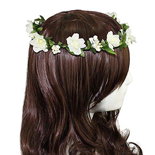 Floral Fall Boho Headband Flower Crown Festival Wedding Beach Hair Wreath F-01 (Purple) (Ivory)