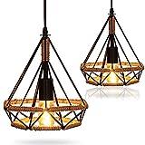 2 lámparas de techo retro creativas de cuerda colgante, AC 230 V E27, casquillo de lámpara colgante, forma de diamante de hierro, jaula colgante de techo, vintage, cuerda de cáñamo de metal