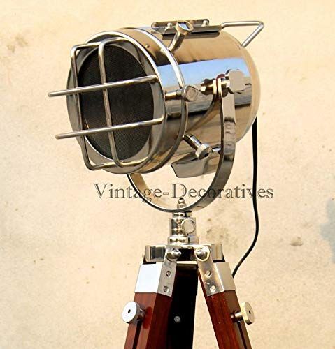 Floor Lamp Handmade Wooden Tripod Searchlight Retro Style Lamps Chrome g