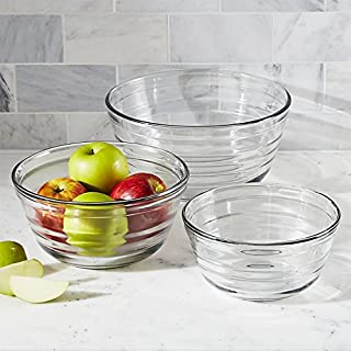 Anchor Hocking Baked by Fire King Tempered Glass Mixing Bowl Set