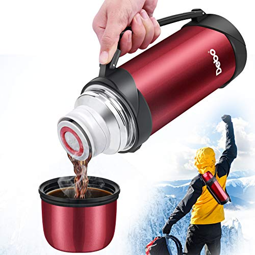 Debo Beverage Bottle Stainless Steel Bpa-Free Coffee Thermos with Handle 41Ounce Large Capacity for Work ,Travel,Outdoor,Keeps Liquid Hot or Cold for Up to 24 Hours