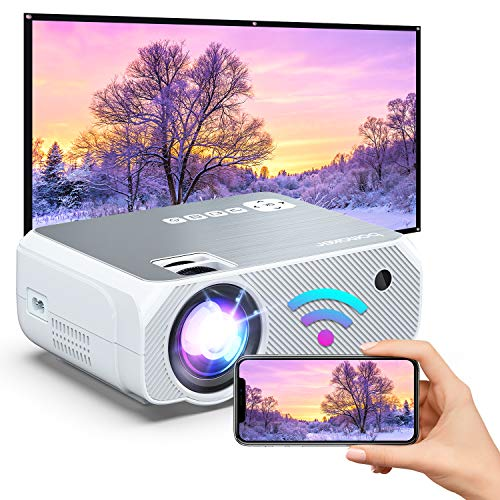 BOMAKER HD WiFi Mini Projector, Native 1280x720P Outdoor Movie Projector, 1080p & 200'' Display Supported Projector for Outdoor Movies, Compatible with Android/ iPhone/ TV Stick/ Laptop/ PS4 - White