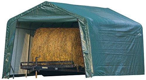 ShelterLogic 12 x 20 x 8-Feet Peak Style Hay Storage Shelter, Green Cover