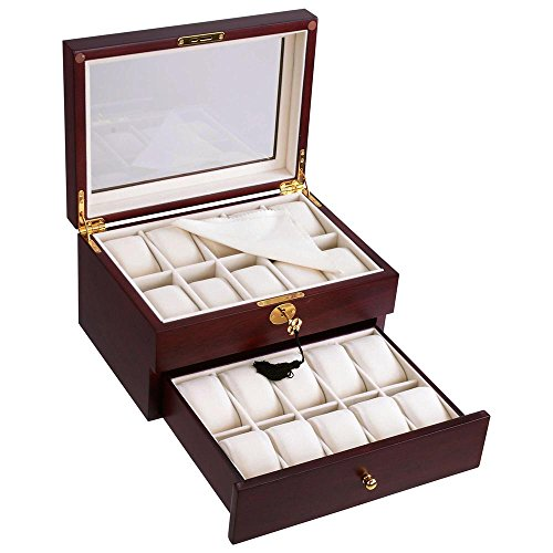 Yescom 20 Slots Wooden Watch Display Case Glass Top Jewelry Collection Storage Box Organizer Men/Women Walnut Wood