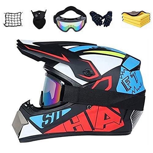 FREHOM Casco Moto Bambino Motocross Integrale, Casco professionale da motocross con Guanti/Occhiali/Face Mask, Caschi Bambini Integrali Downhill DH DOT Omologato Ragazza Ragazzo. (S)